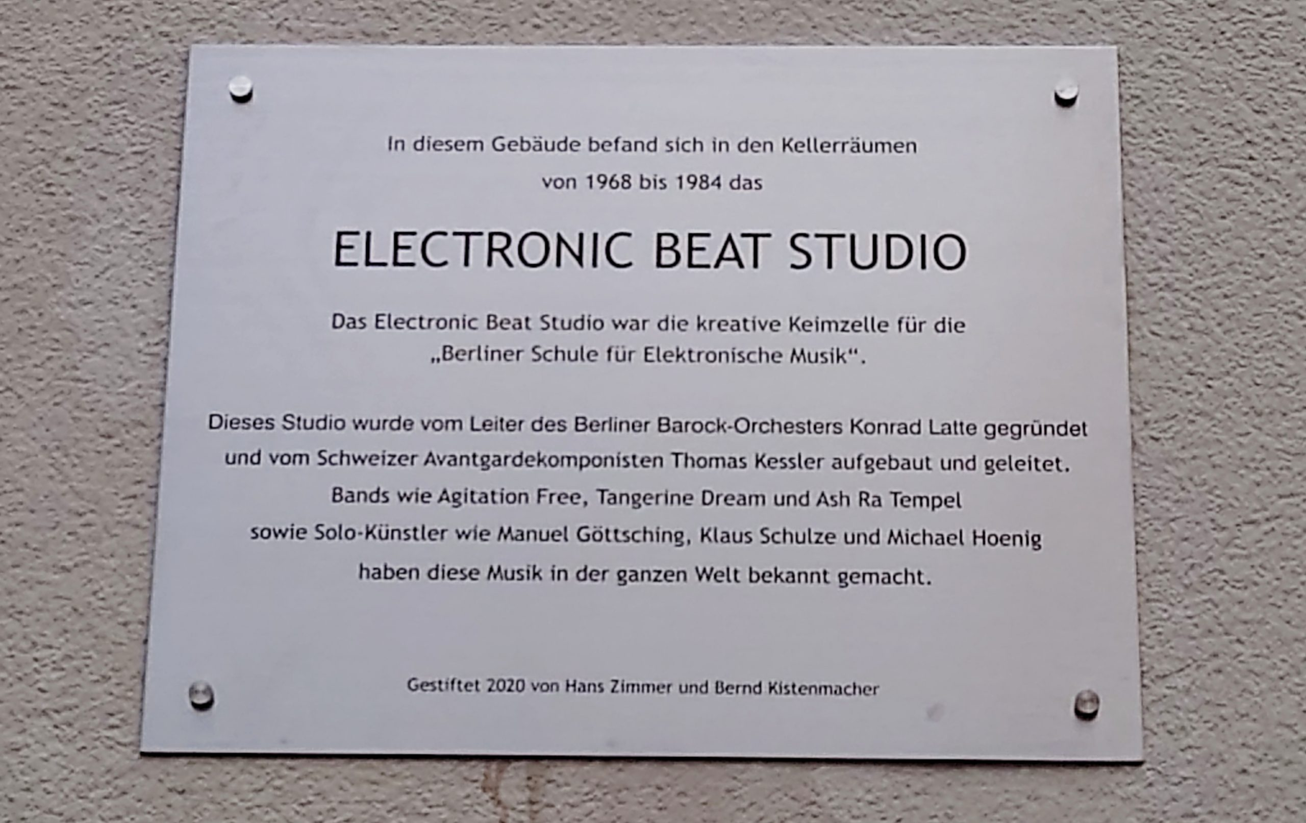 Memorial plaque Electronic Beat Studio, Berlin
